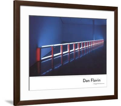 An Artificial Barrier Blue, Red and Blue Fluorescent Light (to Flavin Starbuck Judd)-Dan Flavin-Framed Art Print