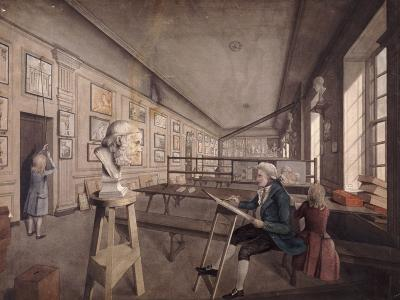 An Artist Copying a Bust on a Pedestal in the Royal Academy at Somerset House, London, C1780--Giclee Print