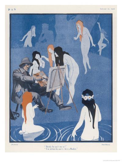 An Artist Paints a Dreary Beach Scene Unaware of the Water-Nymphs Disporting-Tom Purvis-Giclee Print