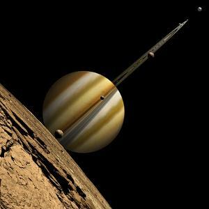 An Artist's Depiction of a Ringed Gas Giant Planet with Six Moons