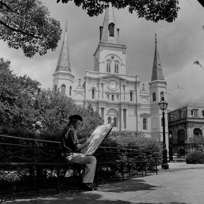 An Artist Sketches St. Louis Cathedral