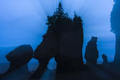 An Artistic Shot of the Hopewell Cape Rocks, Silhouetted at Dusk-Jonathan Irish-Photographic Print
