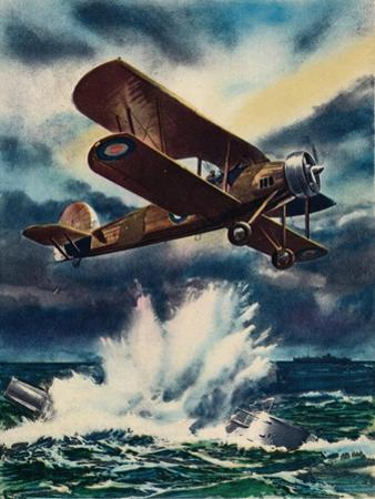 An Artists Impression of a Fairey Swordfish Sinking a U Boat in the North Sea, 1940