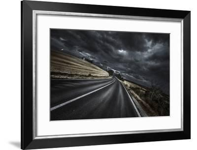 An Asphalt Road with Stormy Sky Above, Tuscany, Italy--Framed Photographic Print