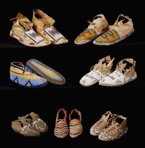 An Assortment of Arapaho, Crow, Western Sioux, Apache and Blackfeet Beaded Hide Moccasins