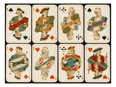 An Assortment of Playing Cards: Kings, Queens and Knaves--Giclee Print