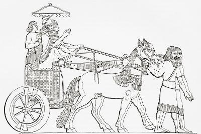 An Assyrian King in His Chariot of State, from the Imperial Bible Dictionary, Published 1889--Giclee Print