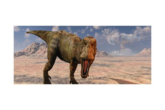 An Asteroid Hitting the Earth, Marking the End of T-Rex and All Dinosaurs-Stocktrek Images-Art Print