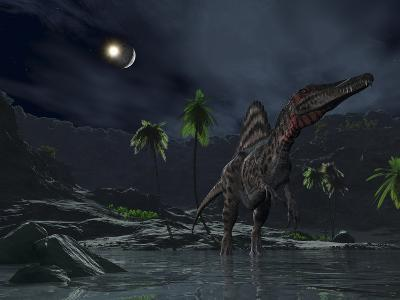 An Asteroid Impact on the Moon While a Spinosaurus Wanders in the Foreground-Stocktrek Images-Photographic Print