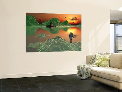 An Astronaut Explorer Amongst a World of Mystery and Ice Green Mountains-Stocktrek Images-Wall Mural