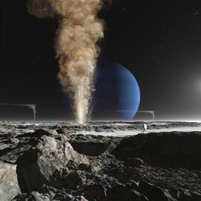 An Astronaut Observes the Ruption of One of Triton's Giant Cryogeysers-Stocktrek Images-Photographic Print