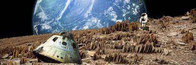 An Astronaut Surveys His Situation on a Barren and Rocky Moon-Stocktrek Images-Art Print