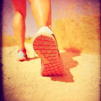 An Athletic Pair of Legs Running or Jogging on a Path during Summer Toned with a Soft Vintage Insta-graphicphoto-Photographic Print