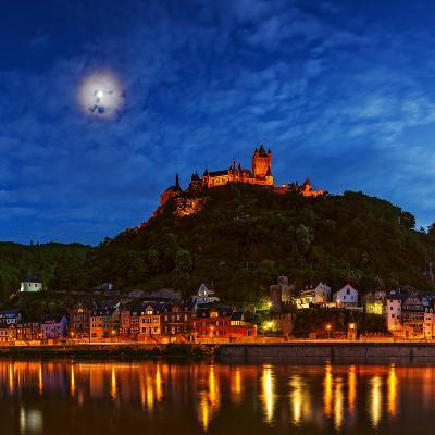An Atmospheric Corona Circles the Moon Above the Imperial Castle of Cochem-Babak Tafreshi-Photographic Print