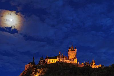 An Atmospheric Corona Encircles the Moon Above the Imperial Castle of Cochem-Babak Tafreshi-Photographic Print