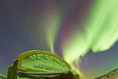 An Aurora Borealis at the Famous Arctic Circle Sign-Mike Theiss-Photographic Print