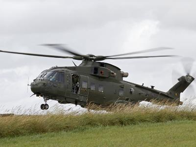 An AW101 Merlin Helicopter of the Royal Air Force Lands in a Field-Stocktrek Images-Photographic Print