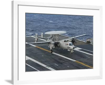 An E-2C Hawkeye Is Recovered During Flight Deck Operations Aboard USS Theodore Roosevelt-Stocktrek Images-Framed Photographic Print
