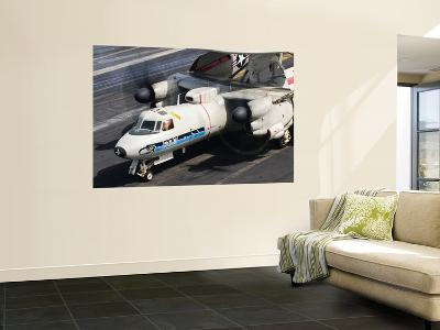 An E-2C Hawkeye Sits Ready Aboard Uss Harry S. Truman-Stocktrek Images-Wall Mural