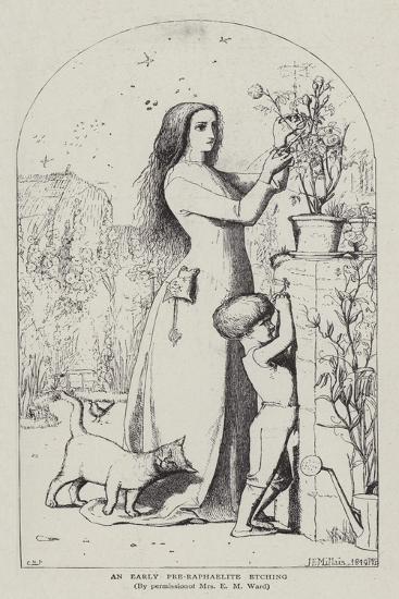 An Early Pre-Raphaelite Etching-John Everett Millais-Giclee Print