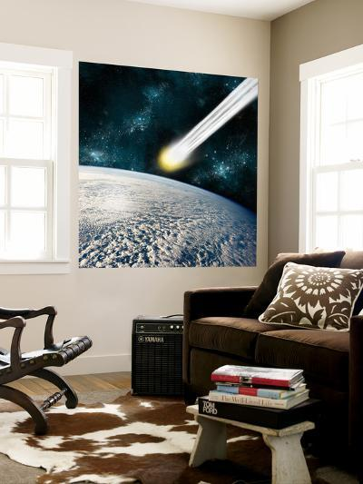An Earth-Like Planet Facing an Imminent Collision with a Comet-Stocktrek Images-Wall Mural