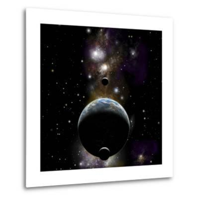An Earth Type World with Two Moons Against a Background of Nebula and Stars