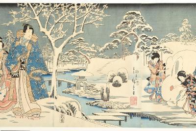 An Eastern Genji in a Snowy Garden, 1854-Utagawa Hiroshige & Kunisada-Giclee Print
