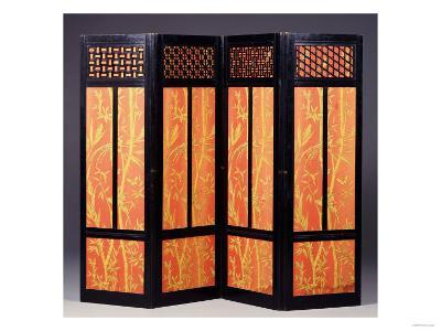 An Ebonised Four Fold Aesthetic Movement Screen, English Circa 1875--Giclee Print