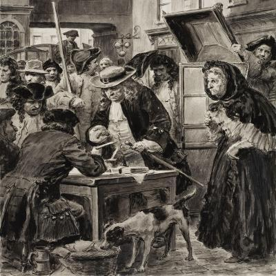 An Eighteenth Century Pawnbroker and His Customers-C.l. Doughty-Giclee Print