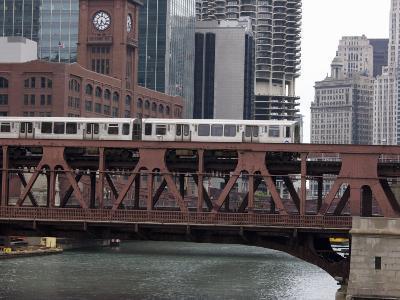 An El Train on the Elevated Train System Crossing Wells Street Bridge, Chicago, Illinois, USA-Amanda Hall-Photographic Print