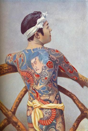 An elaborately tattooed Japanese man, 1902-Unknown-Giclee Print