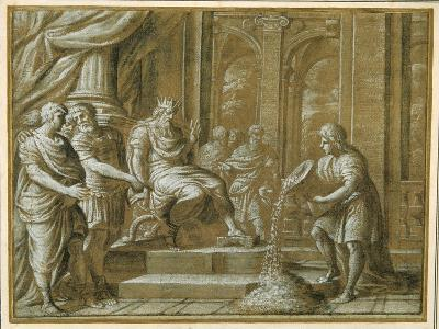 An Elderly King, Enthroned with Attendants in an Architectural Setting, and a Youth Pouring from…-Pietro Da Cortona-Giclee Print
