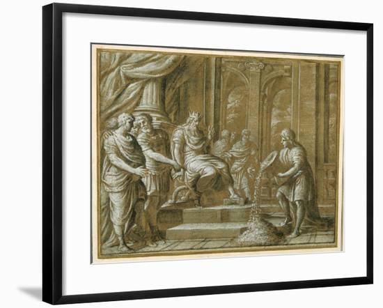 An Elderly King, Enthroned with Attendants in an Architectural Setting, and a Youth Pouring from…-Pietro Da Cortona-Framed Giclee Print