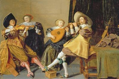An Elegant Company Playing Music in an Interior-Dirck Hals-Giclee Print