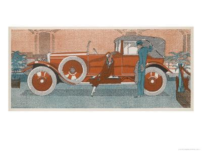 An Elegant Couple and Their Smart New Renault Car-Jean Grangier-Giclee Print