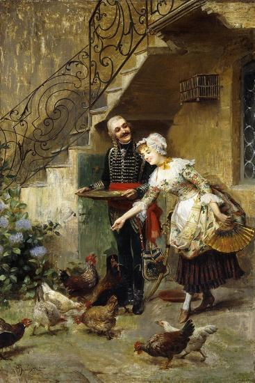 An Elegant Couple Feeding Chickens in a Courtyard-Giacomo Mantegazza-Giclee Print