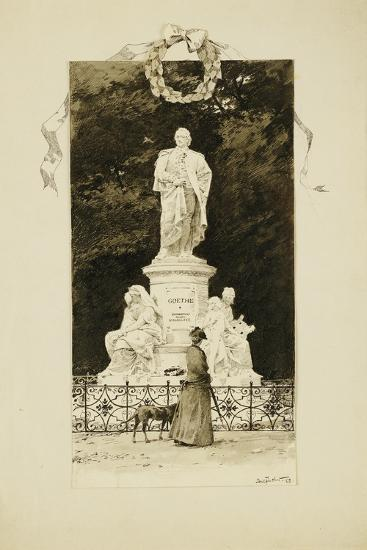 An Elegant Lady at the Statue of Goethe, 1888-Paul Fischer-Giclee Print
