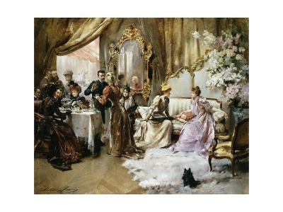 An Elegant Tea Party in the Artist's Studio-Madeleine Jeanne Lemaire-Giclee Print