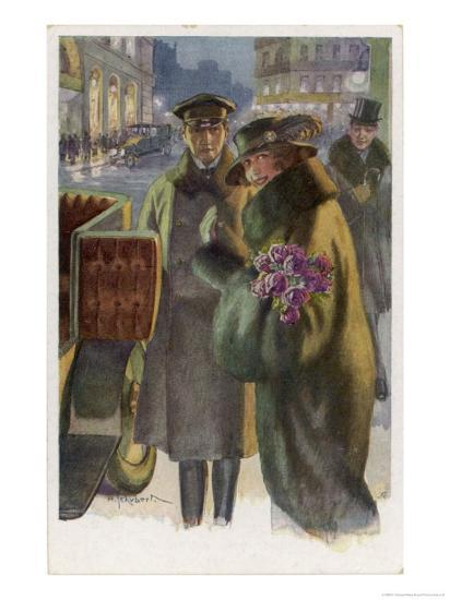 An Elegant Viennese Lady Enters Her Chauffeur-Driven Car at Night Clutching a Bunch of Roses-H. Schubert-Giclee Print