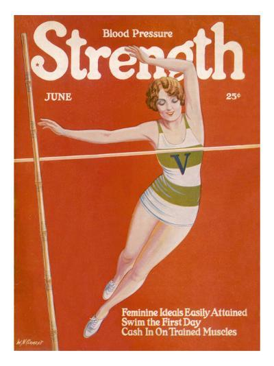 An Elegant Woman Soars Towards the Bar During a Pole Vault--Giclee Print