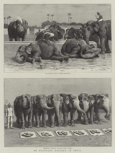 An Elephant Battery in India--Giclee Print