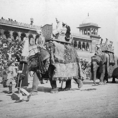 An Elephant Procession Passing Jumma Masjid, Delhi, India, 1900s- H & Son Hands-Giclee Print
