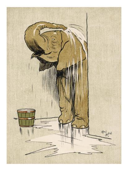 An Elephant Washing Itself with Water from a Bucket--Giclee Print