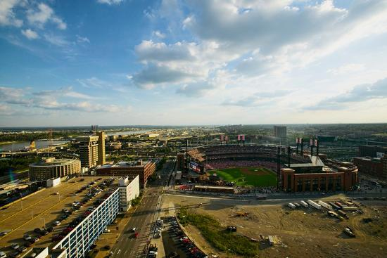 An elevated view of the third Busch Stadium and St. Louis, Missouri, where the Pittsburgh Pirate...--Photographic Print
