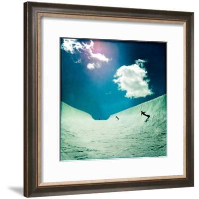 An Eleven Year Old Boy and His Mom Snowboarding in a Large Half-Pipe-Skip Brown-Framed Photographic Print
