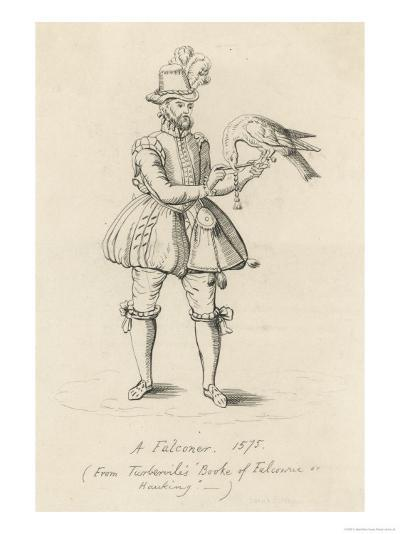 An Elizabethan Falconer with His Bird-S. Major-Giclee Print