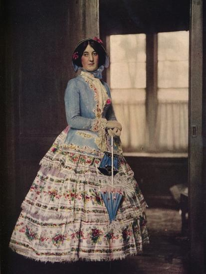 'An embroidered coat, with a lovely silk gauze skirt. In fashion between 1850 and 1860', c1913-Unknown-Photographic Print