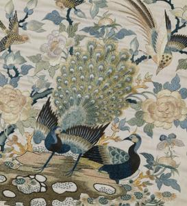 An Embroidered Roundel of Cream Satin, with a Pair of Peacocks and Other Birds Among Flowers