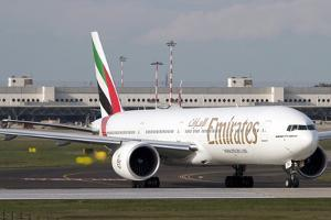 An Emirates Boeing 777 at Milano Malpensa Airport, Italy