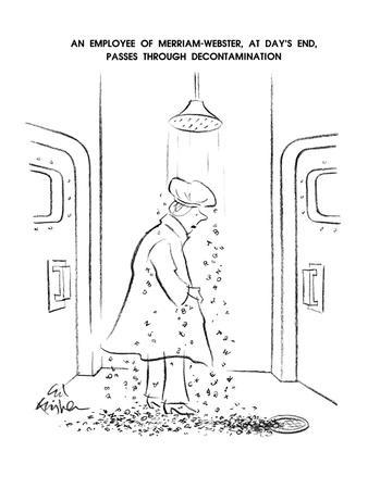 An Employee OF Merriam-Webster, At Day's End, Passes Through Decontaminati? - New Yorker Cartoon-Ed Fisher-Premium Giclee Print
